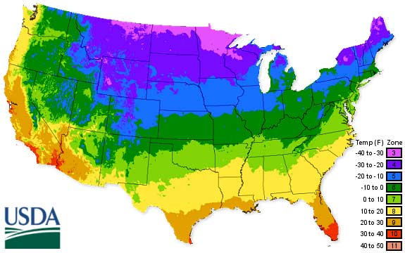 USDA climate map for 2012