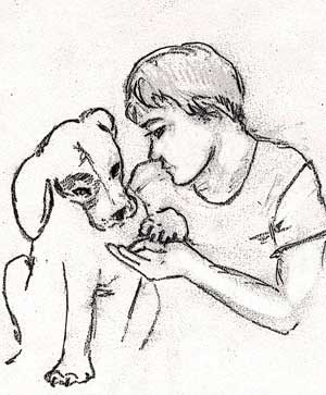 Boy sitting with his dog, Grey Duck Garlic by Susan Fluegel
